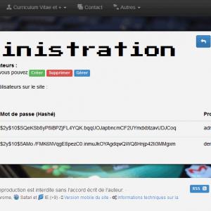 Partie administration - utilisateurs