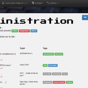 Partie administration - Blog